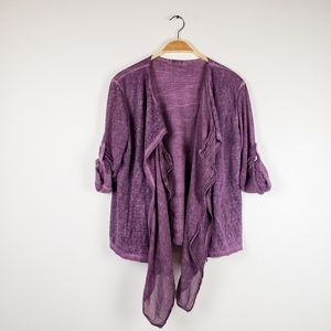 Made In Italy • Linen Purple Open Front Cardigan